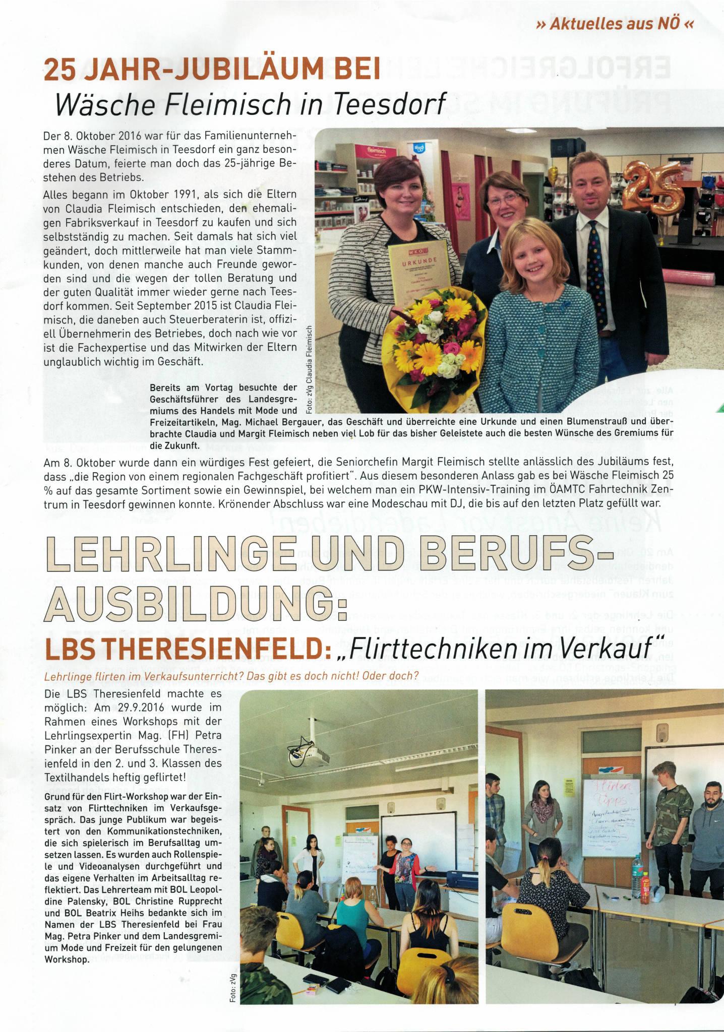 25 J Jubiläum - WK NÖ Zeitung, Sparte Handel - Wäsche Fleimisch
